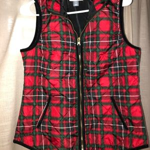 Red,green, and black plaid vest